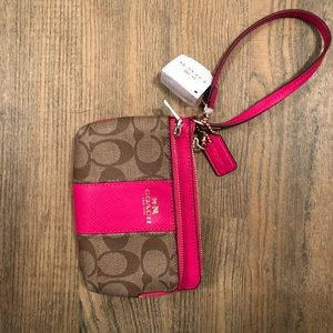 Coach Double Zipper Wallet/Wristlet Tan & Pink NWT